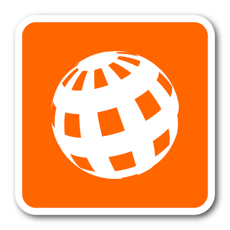 parallels: earth orange flat design modern web icon