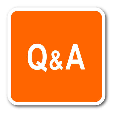 question and answer: question answer orange flat design modern web icon
