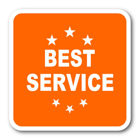 best service: best service orange flat design modern web icon