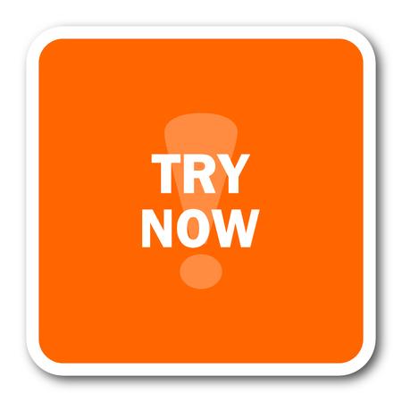try: try now orange flat design modern web icon