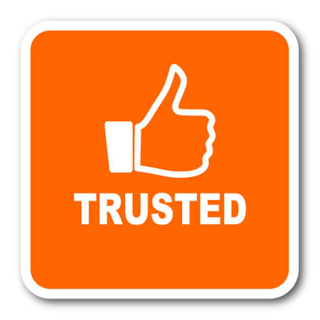 trusted: trusted orange flat design modern web icon