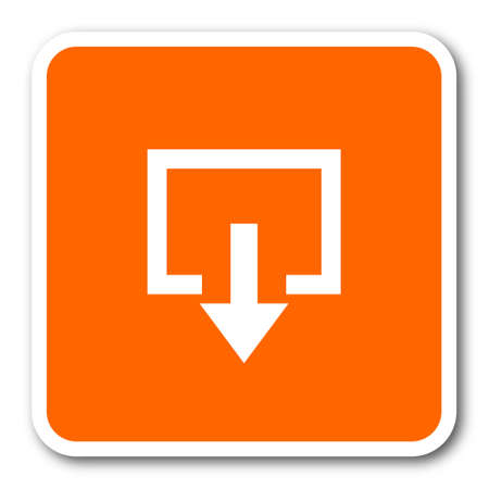 emergency exit label: exit orange flat design modern web icon