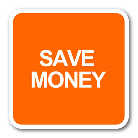 save money: save money orange flat design modern web icon