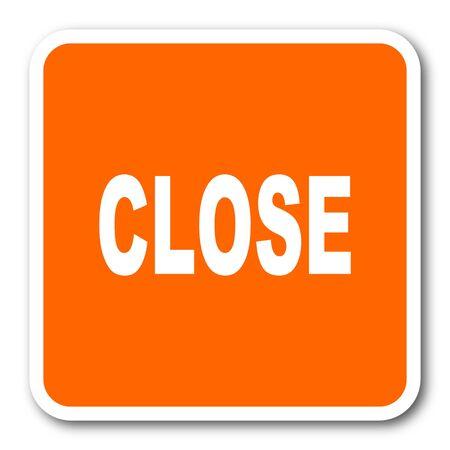 key signature: close orange flat design modern web icon Stock Photo