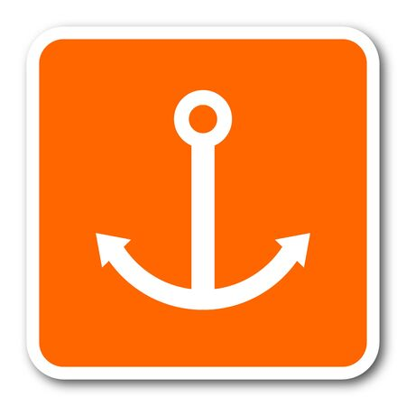 quay: anchor orange flat design modern web icon Stock Photo