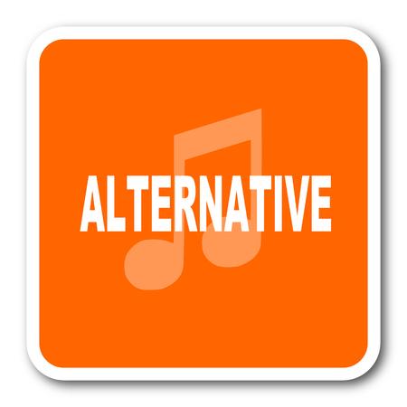 listen live stream: alternative music orange flat design modern web icon Stock Photo