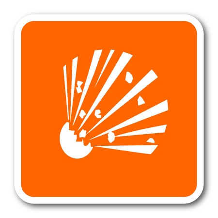 explosion hazard: bomb orange flat design modern web icon