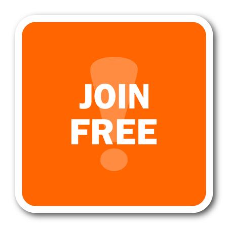 join here: join free orange flat design modern web icon Stock Photo