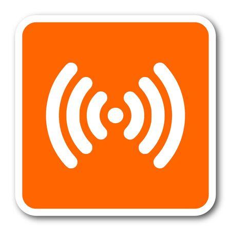 lan: wifi orange flat design modern web icon