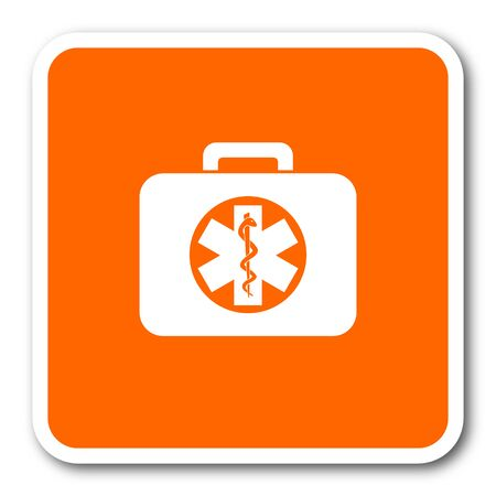 first aid kit key: rescue kit orange flat design modern web icon