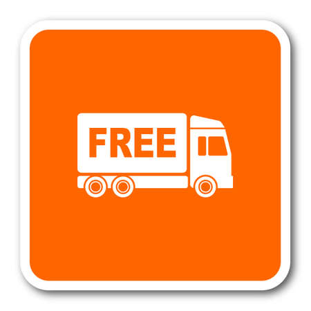 complimentary: free delivery orange flat design modern web icon