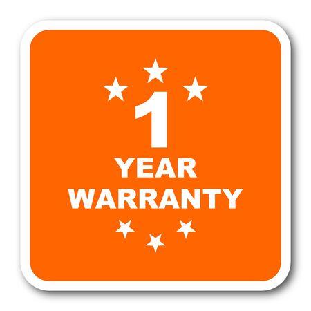 1 year: warranty guarantee 1 year orange flat design modern web icon