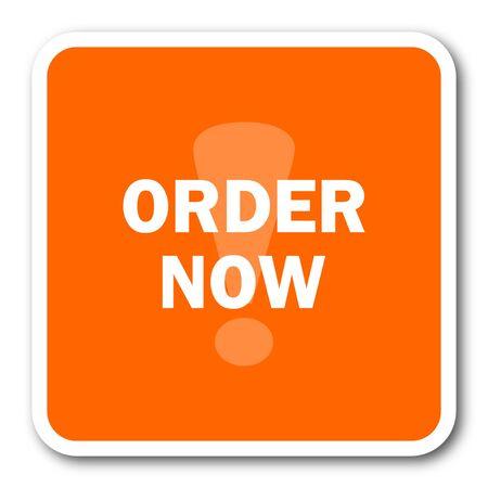 order now: order now orange flat design modern web icon Stock Photo