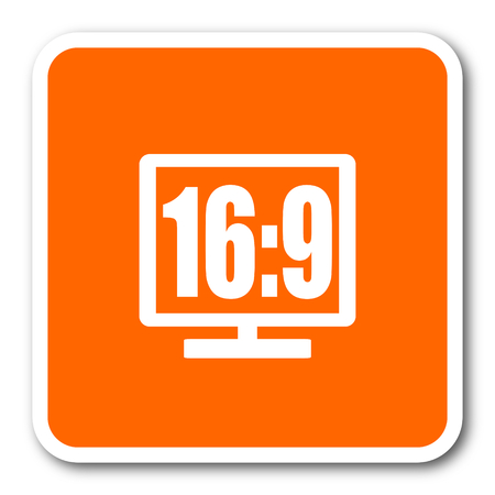 16 9 display: 16 9 display orange flat design modern web icon Stock Photo