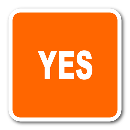 yea: yes orange flat design modern web icon Stock Photo