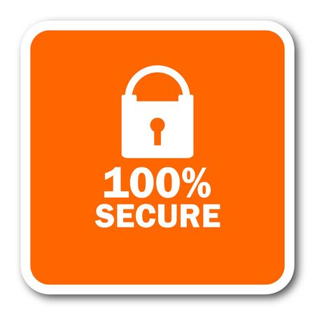 secure: secure orange flat design modern web icon