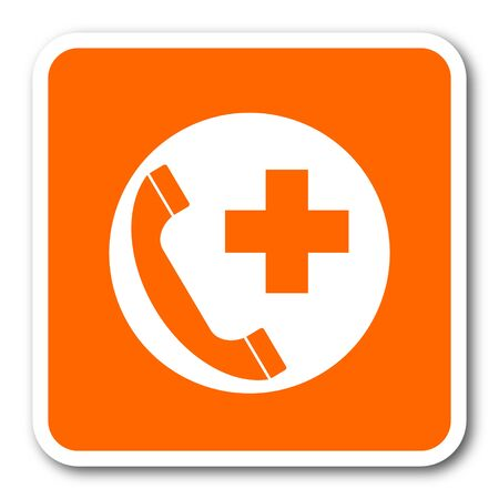 emergency call: emergency call orange flat design modern web icon