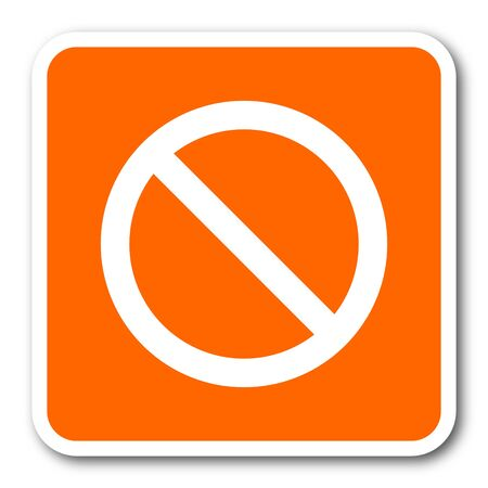 entrance is forbidden: access denied orange flat design modern web icon Stock Photo