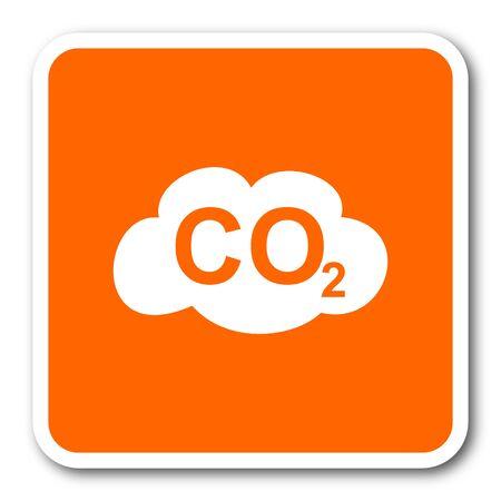 dioxido de carbono: el dióxido de carbono de naranja diseño plano icono de la web moderna Foto de archivo
