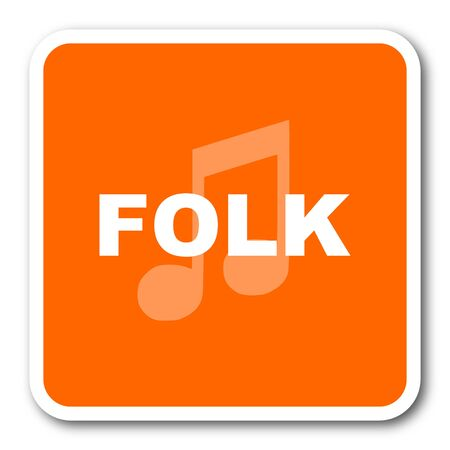 folk music: folk music orange flat design modern web icon