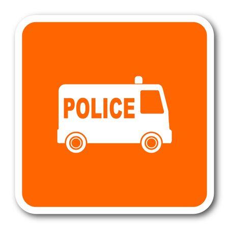 highway patrol: police orange flat design modern web icon