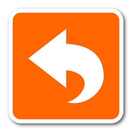 black button: back orange flat design modern web icon
