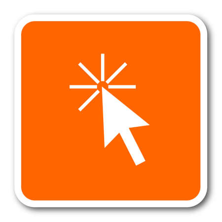 click here: click here orange flat design modern web icon