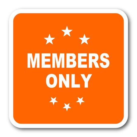 privilege: members only orange flat design modern web icon
