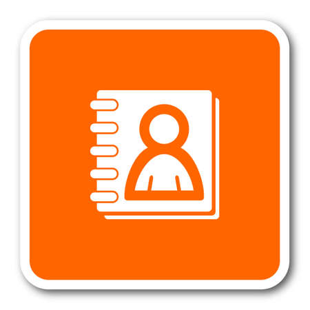 address book: address book orange flat design modern web icon Stock Photo
