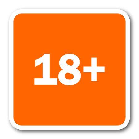 permitted: adults orange flat design modern web icon