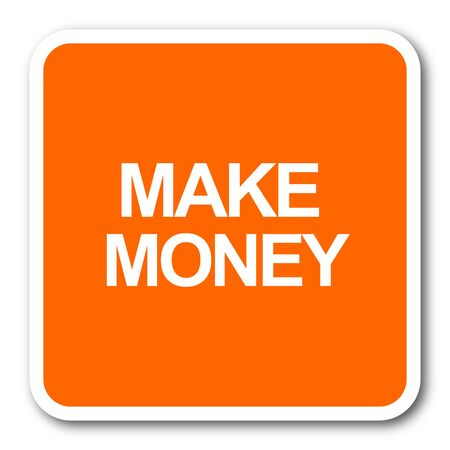 make money: make money orange flat design modern web icon