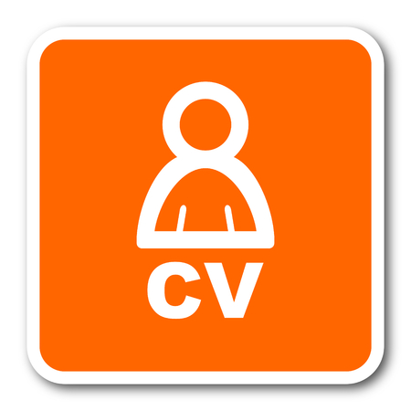 job descriptions: cv orange flat design modern web icon