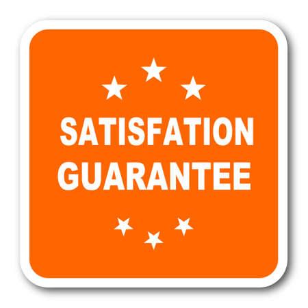 satisfaction guarantee: satisfaction guarantee orange flat design modern web icon