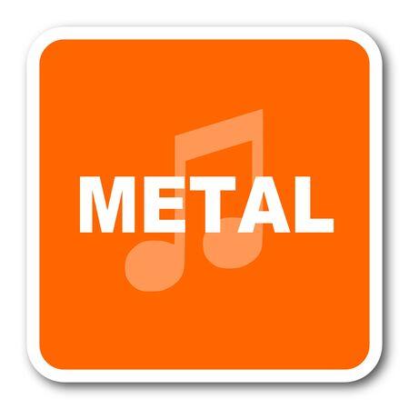 listen live stream: metal music orange flat design modern web icon Stock Photo