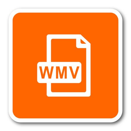 wmv: wmv file orange flat design modern web icon