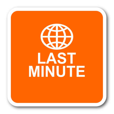 last minute: last minute orange flat design modern web icon