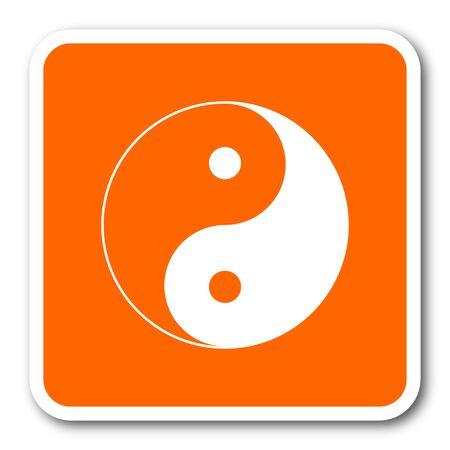 karma design: ying yang orange flat design modern web icon