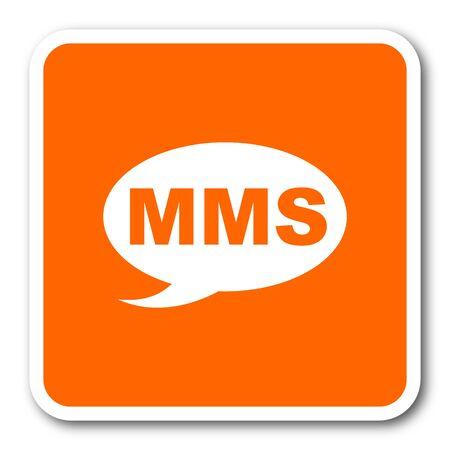 mms: mms orange flat design modern web icon
