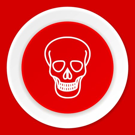 pirating: skull red flat design modern web icon