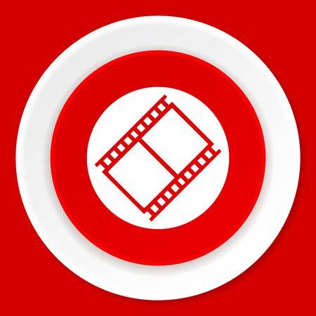 watch movement: film red flat design modern web icon Stock Photo