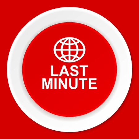 last minute: last minute red flat design modern web icon Stock Photo