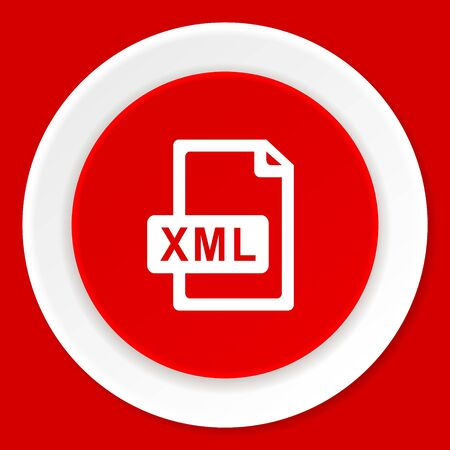 xml: xml file red flat design modern web icon Stock Photo