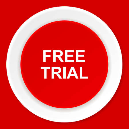free trial: free trial red flat design modern web icon Stock Photo