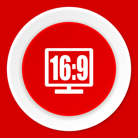 16 9: 16 9 display red flat design modern web icon