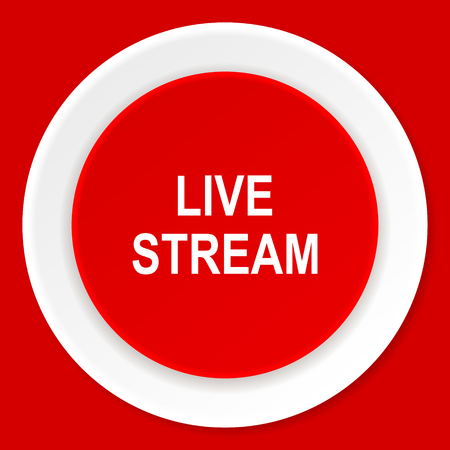 live stream: live stream red flat design modern web icon Stock Photo