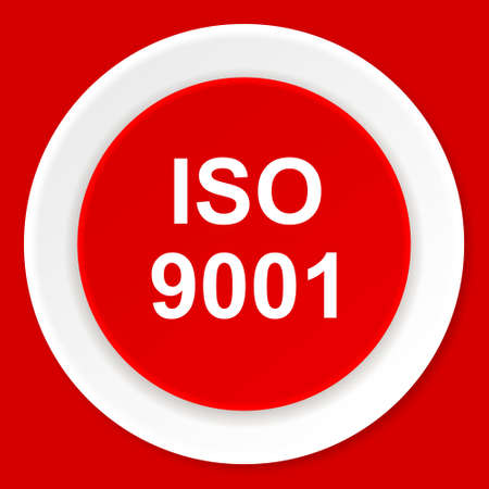 certificated: iso 9001 red flat design modern web icon