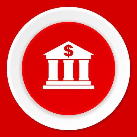 money button: bank red flat design modern web icon