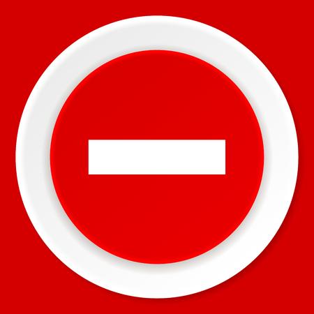 minus: minus red flat design modern web icon Stock Photo