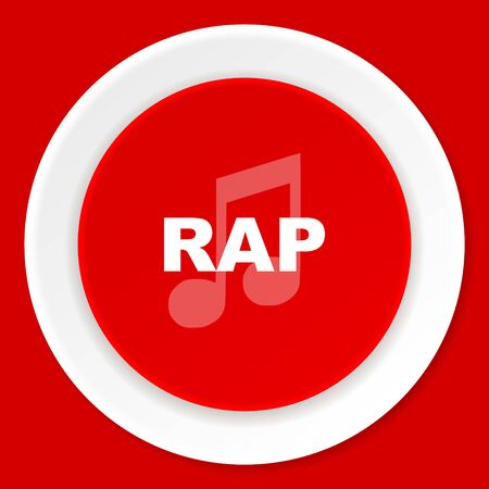 rap music: rap music red flat design modern web icon