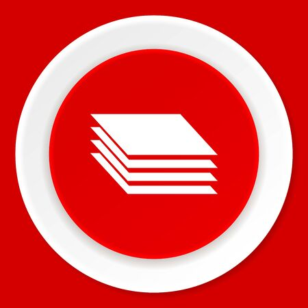 layers: layers red flat design modern web icon
